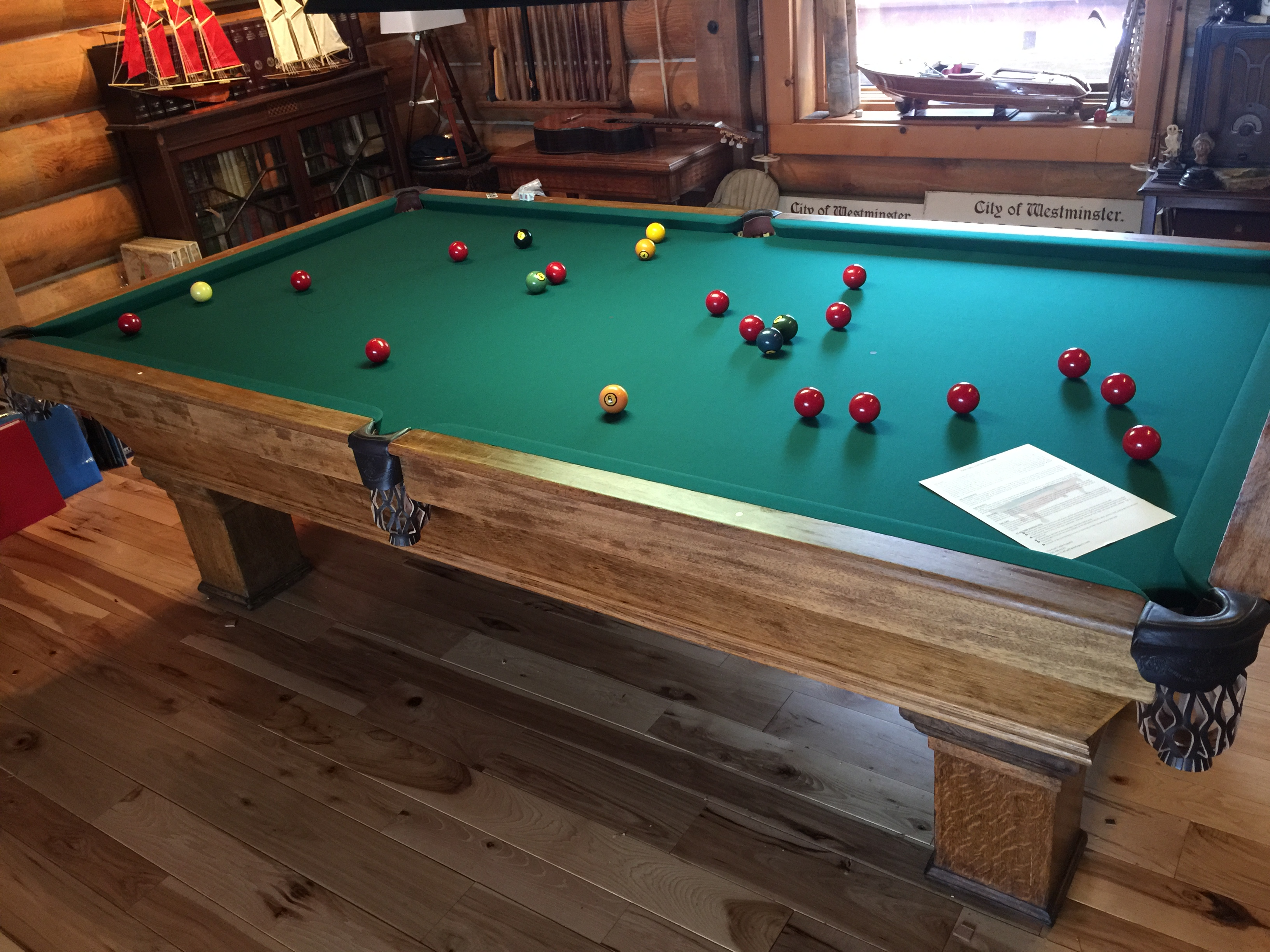 We Were Called To Evergreen Colorado To Recloth This Antique Snooker Table.  Upon Examination Of The Table, It Was Discovered That The Person Who Built  It ...